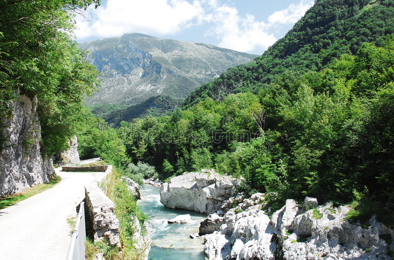 Soca River Near Kobarid. The River Soca, which runs through SLovenia and Italy (where it is known as the Isonzo), flowing through the alpine landscape near the royalty free stock image