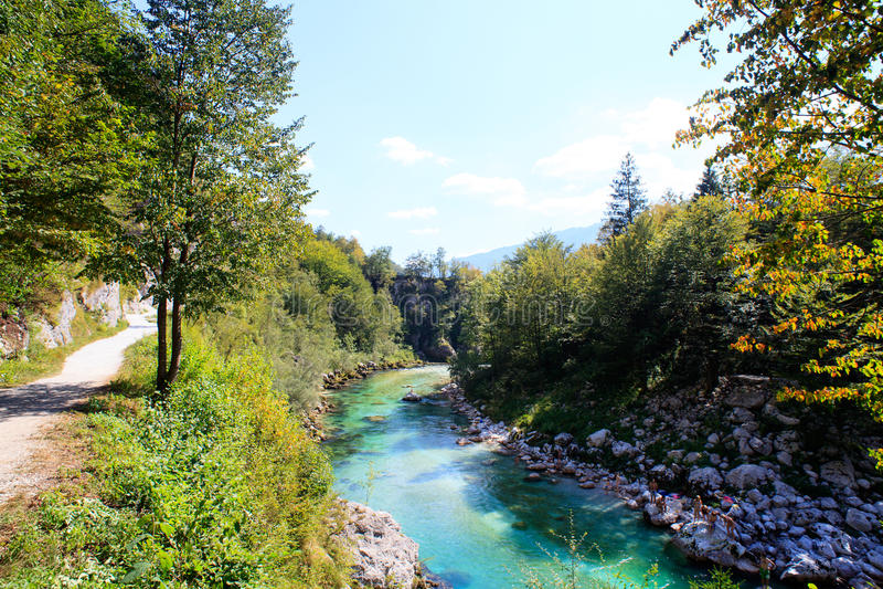 Soca river, Slovenia. View of Soca river in Slovenia, Europe royalty free stock photo