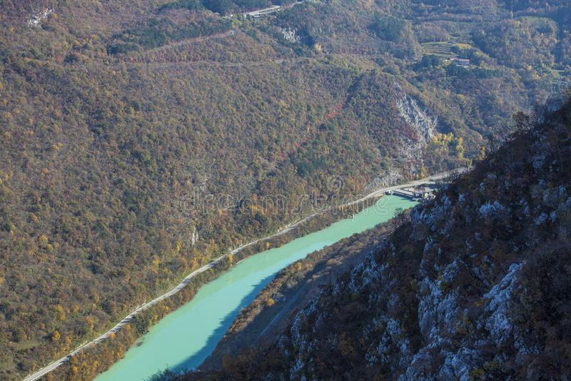 The soca river in solkan royalty free stock images