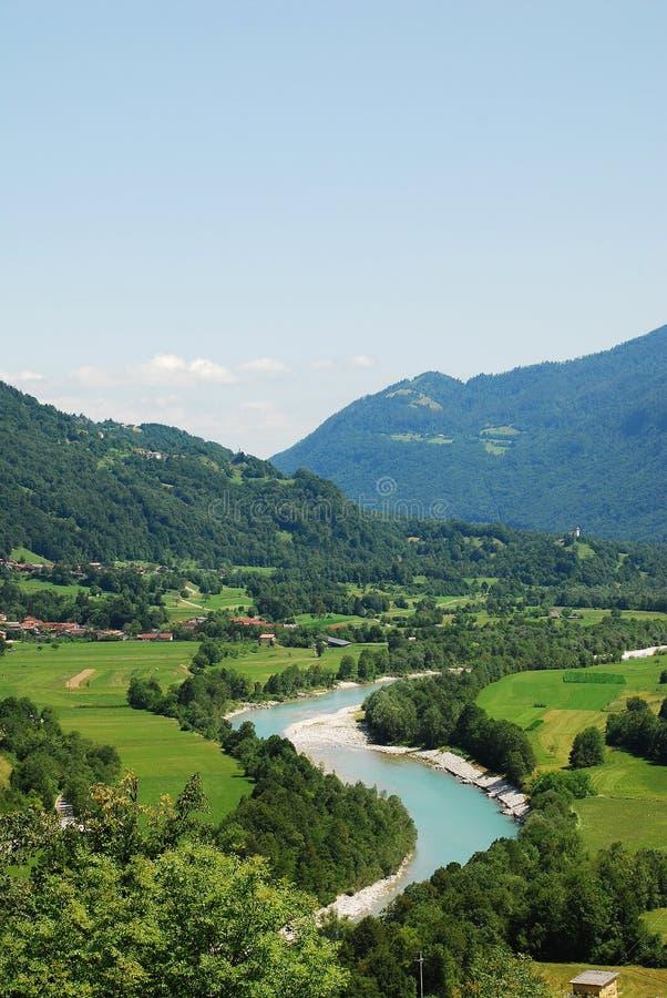 Soca Valley Near Kobarid. The Alpine landscape near the Slovenian village of Kobarid in the Littoral region. The Soca River, which flows through Slovenia and stock photo