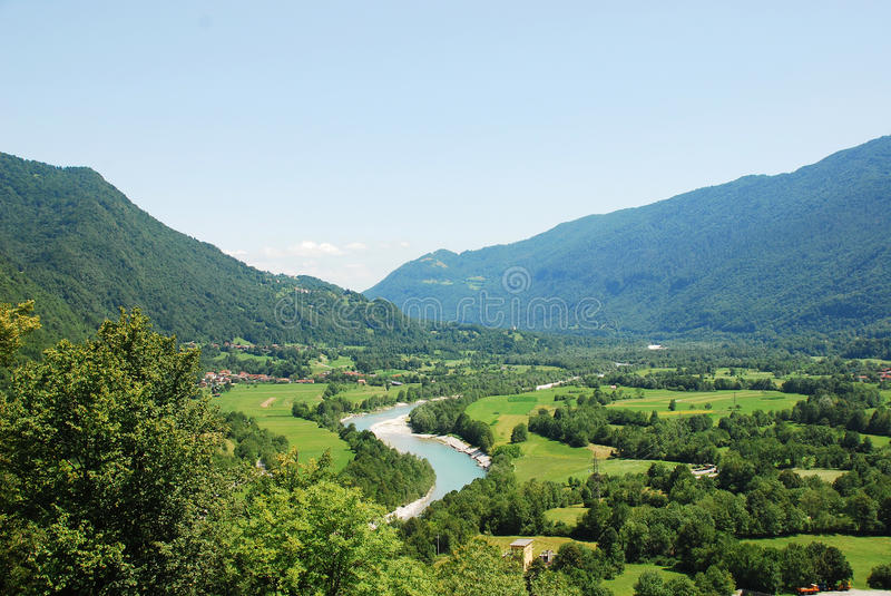 Soca Valley Near Kobarid. The Alpine landscape near the Slovenian village of Kobarid in the Littoral region. The Soca River, which flows through Slovenia and royalty free stock photo