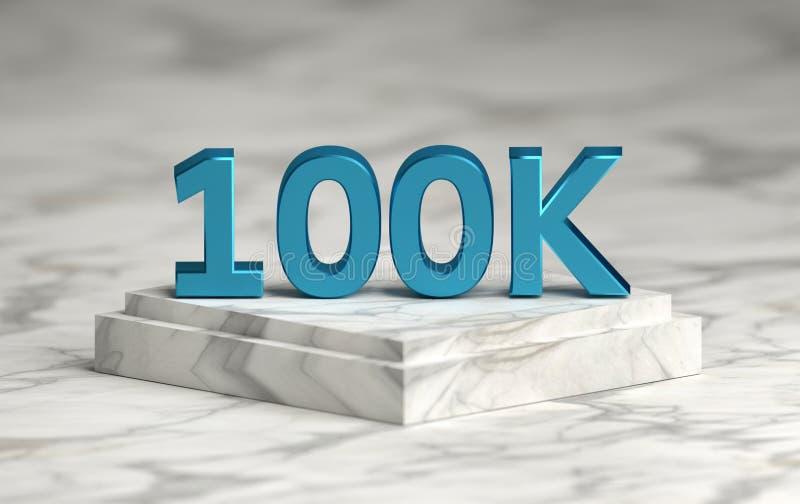 Socail media number 100K likes followers on podium vector illustration