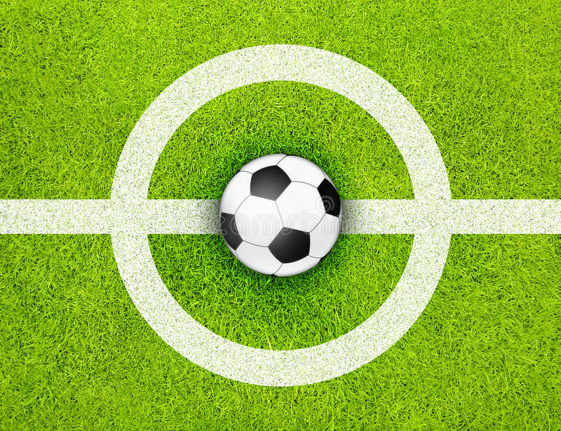 Soccer. Traditional black white soccer ball on the center of green grass football field with white lines stock illustration