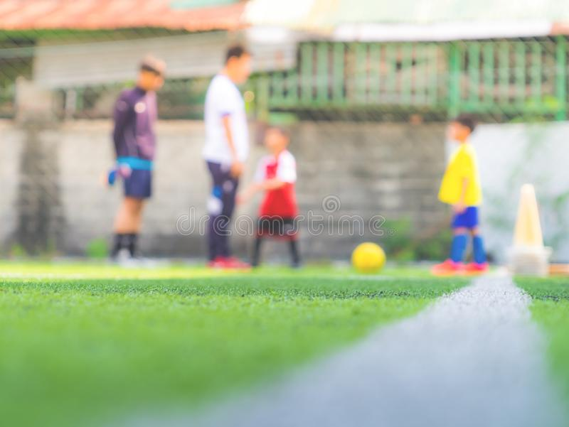 Soccer Academy for children training blurred for background royalty free stock photos