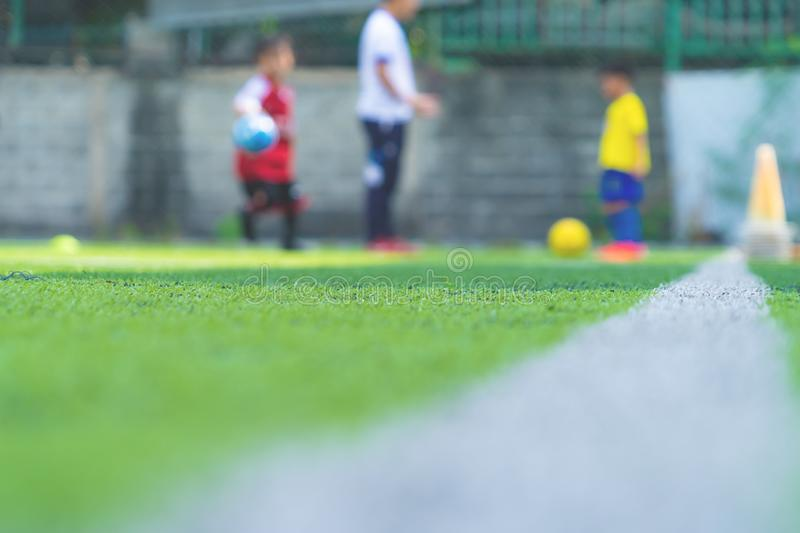 Soccer Academy for children training blurred for background royalty free stock photo
