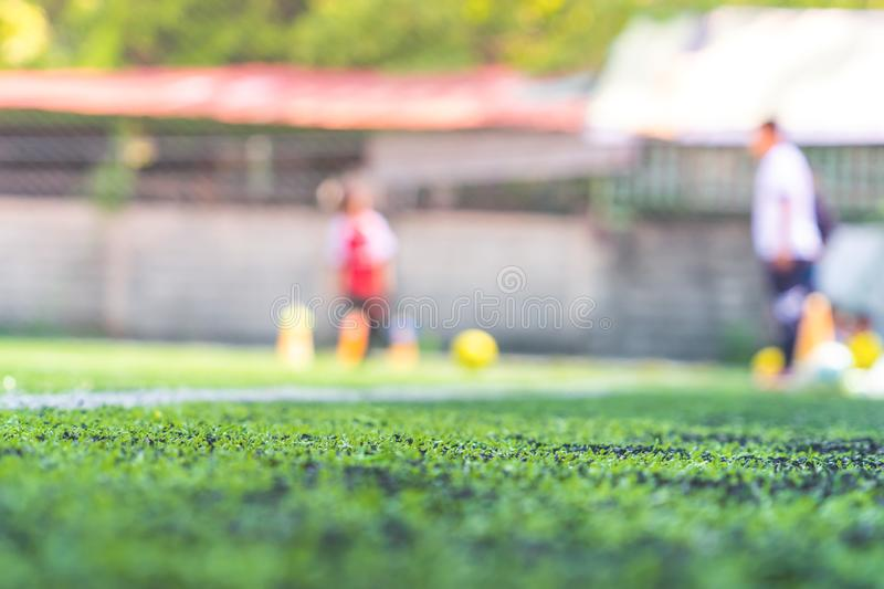 Soccer field for children training blurred for background stock photos