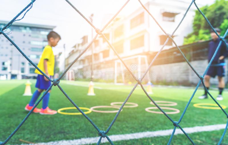 Soccer field for children training blurred for background stock images