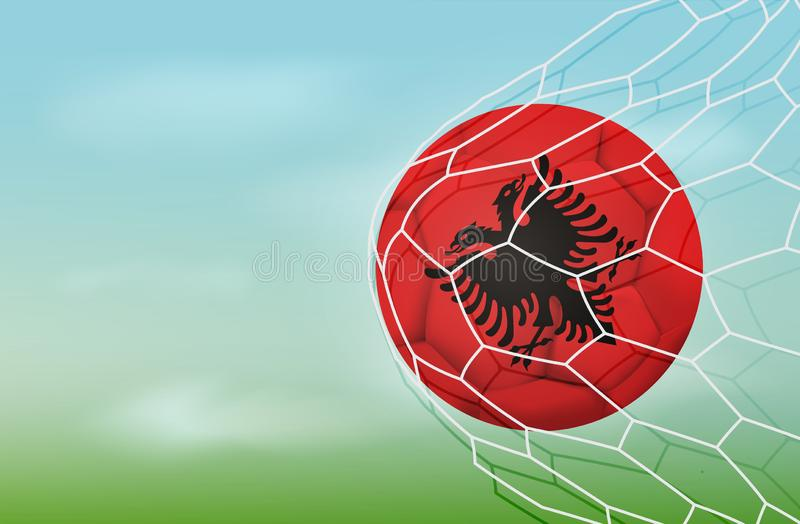 Soccer Albania ball in goal net with blue sky. Realistic football in net with copy space for text. Albania flag Illustration stock stock illustration
