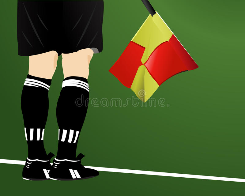 An Soccer Arbiter With Flag Royalty Free Stock Image