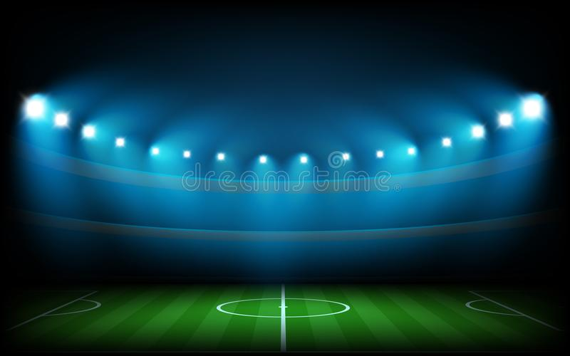 Soccer arena illuminated with lights. Soccer arena illuminated with spot lights royalty free illustration