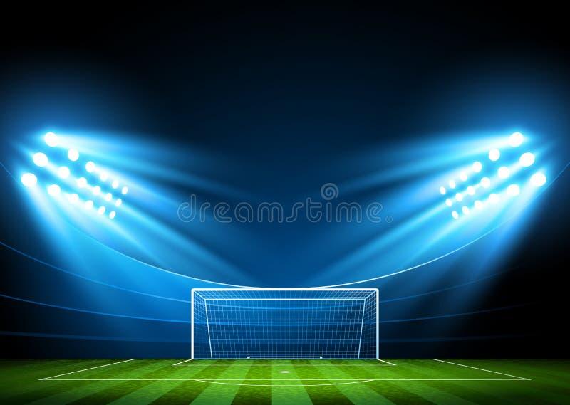 Soccer arena, stadium. Soccer stadium, arena in night illuminated bright spotlights. Vector