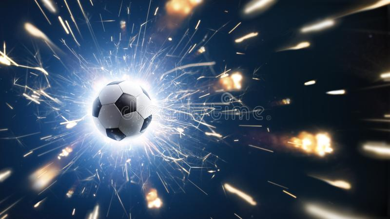 Soccer. Soccer ball. Soccer background with fire sparks in action on the black royalty free stock photo