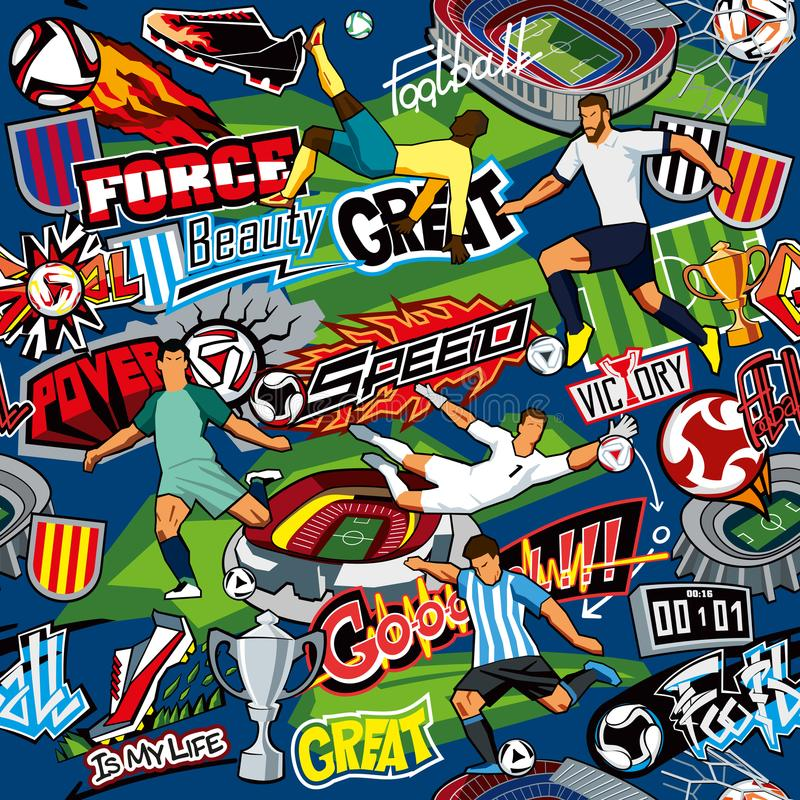 Soccer background. Seamless pattern. Football attributes, football players of different teams, balls, stadiums, graffiti, inscript stock illustration