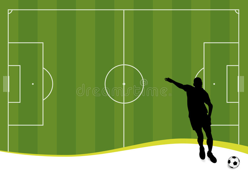 Soccer background (vector). Vector soccer player and football playground royalty free illustration