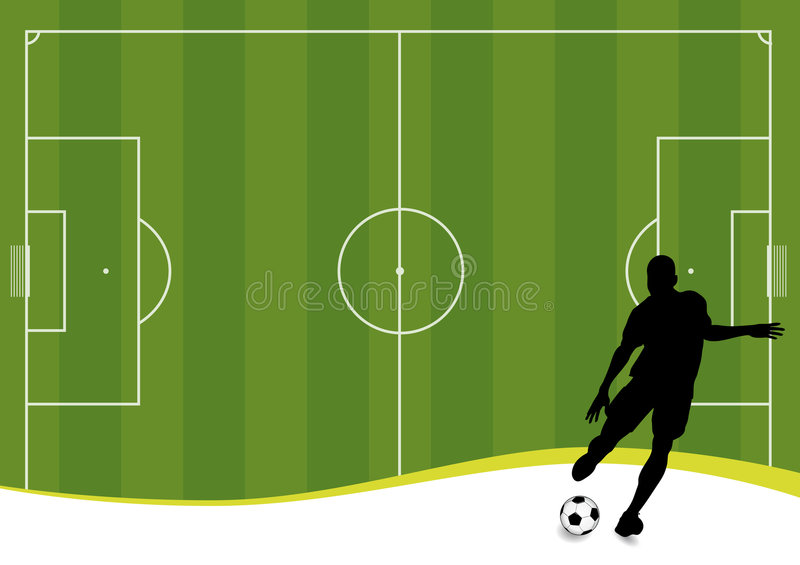 Soccer background (vector). Vector soccer player and football playground stock illustration