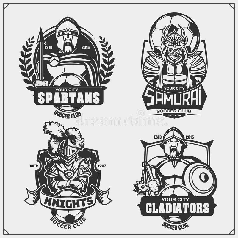 Soccer badges, labels and design elements. Sport club emblems with ancient warriors. Print design for t-shirt. Vector stock illustration