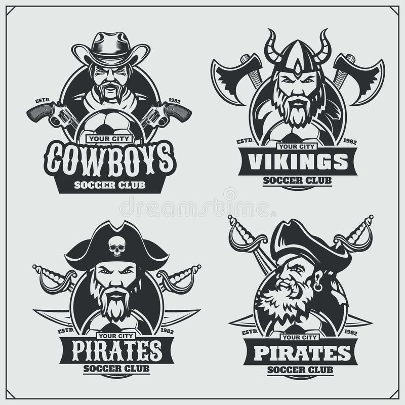 Soccer Badges, Labels And Design Elements. Sport Club Emblems With ...