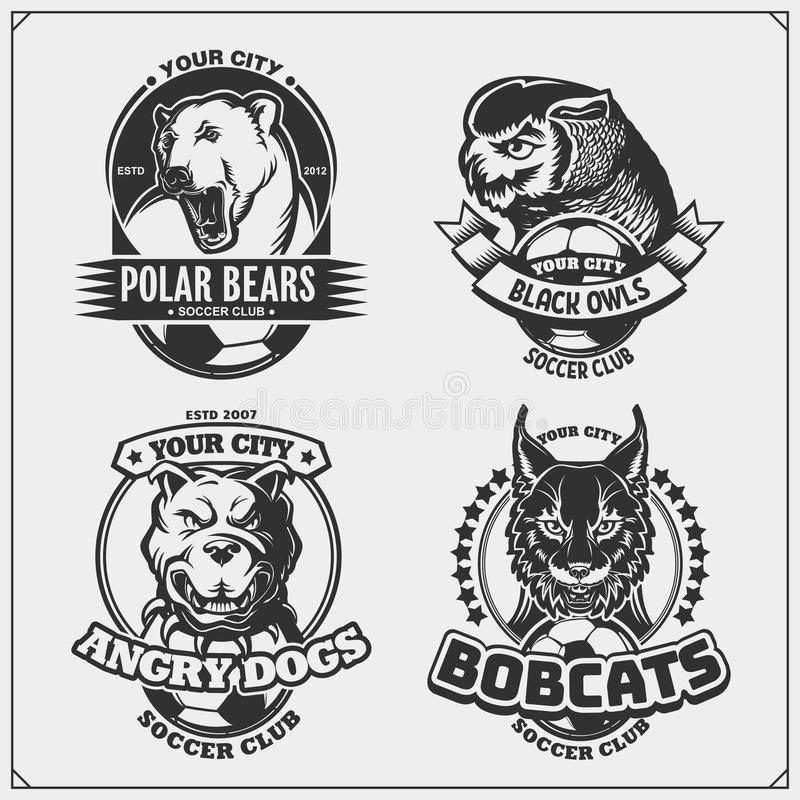 Soccer badges, labels and design elements. Sport club emblems with polar bear, bobcat, pitbull and owl. Print design for t-shirt. vector illustration