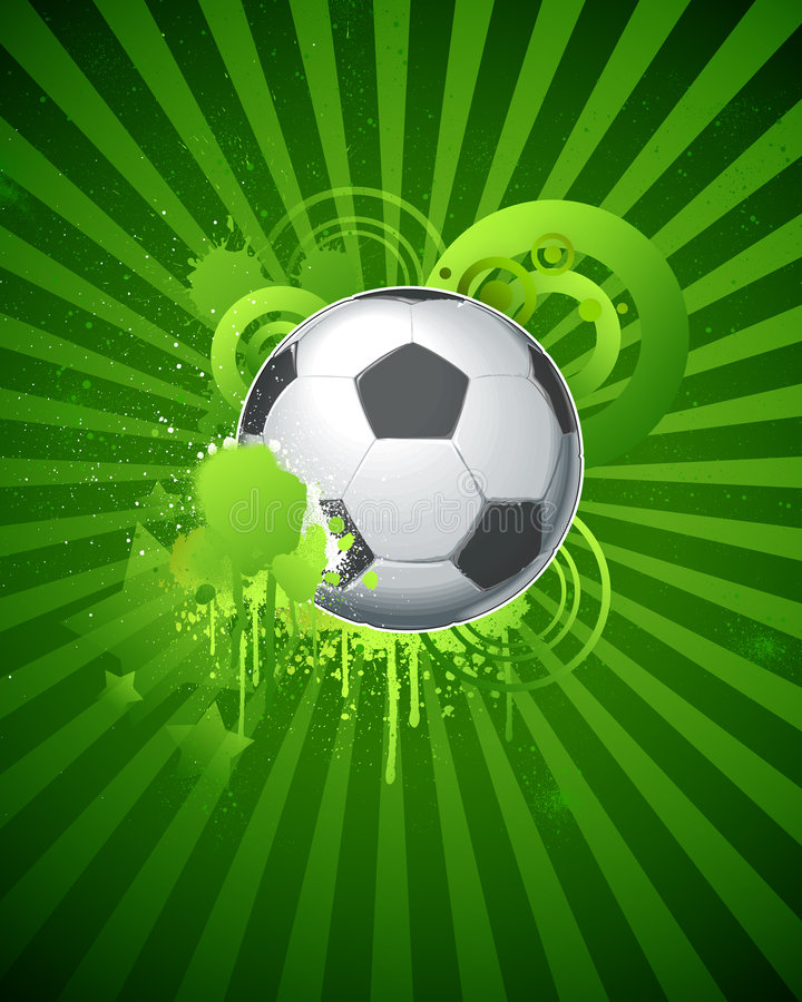 Soccer ball 03. Soccer ball with green graphic objects and spray drips, paint splash stock illustration