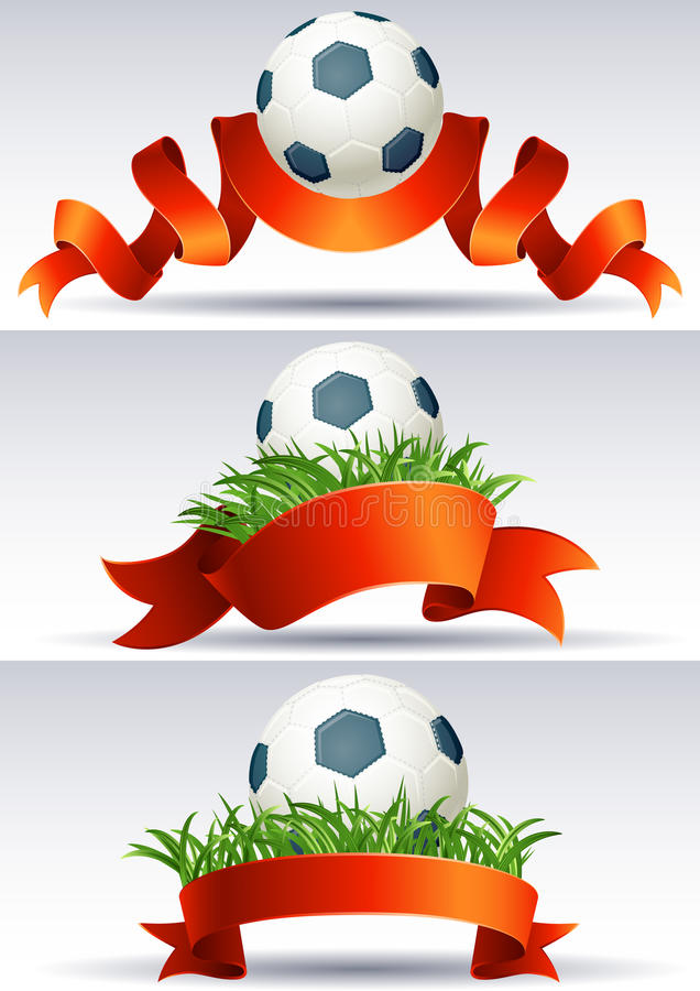 Soccer ball. Vector illustration - banners with soccer balls and red ribbons