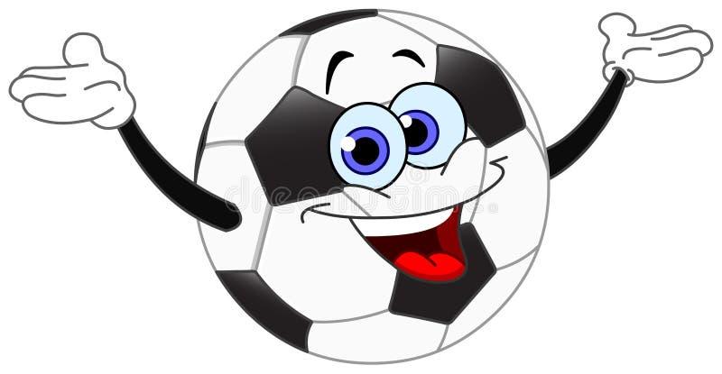 Soccer ball. Cartoon soccer ball raising his hands