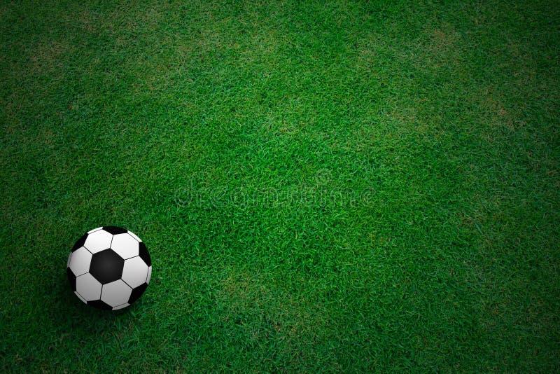 Soccer ball. On green grass royalty free stock photos