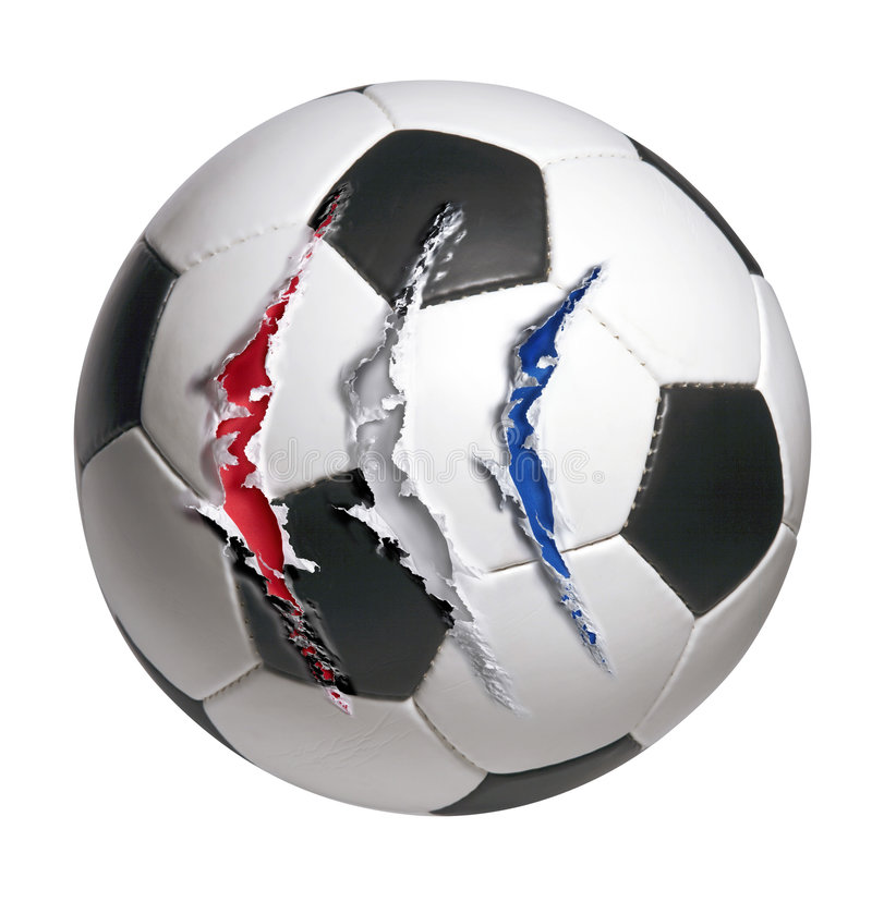 Soccer ball. With 3 deep scratches royalty free stock image