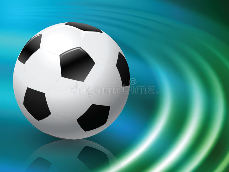Soccer Ball on Abstract Liquid Wave Background stock illustration