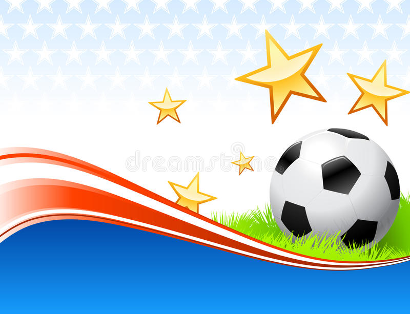 Soccer Ball on Abstract Patriotic Background vector illustration