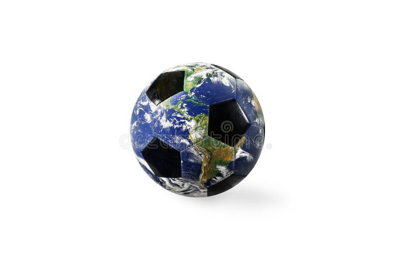 Soccer ball a as world. Earth provided by NASA. Isolated on white background. Soccer ball a as world planet. Earth provided by NASA. Isolated on white background stock illustration