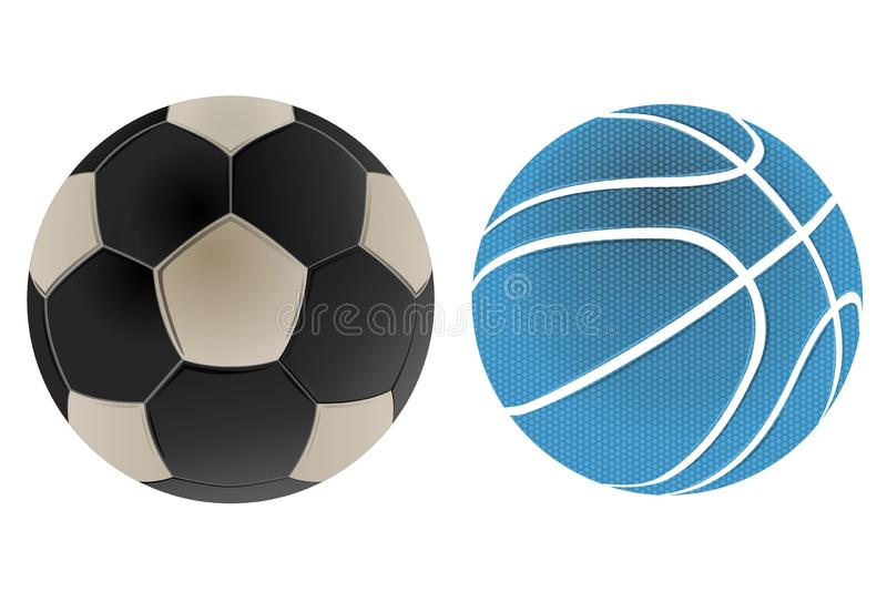 Soccer ball and basketball isolated on white background. Illustration design royalty free stock photos