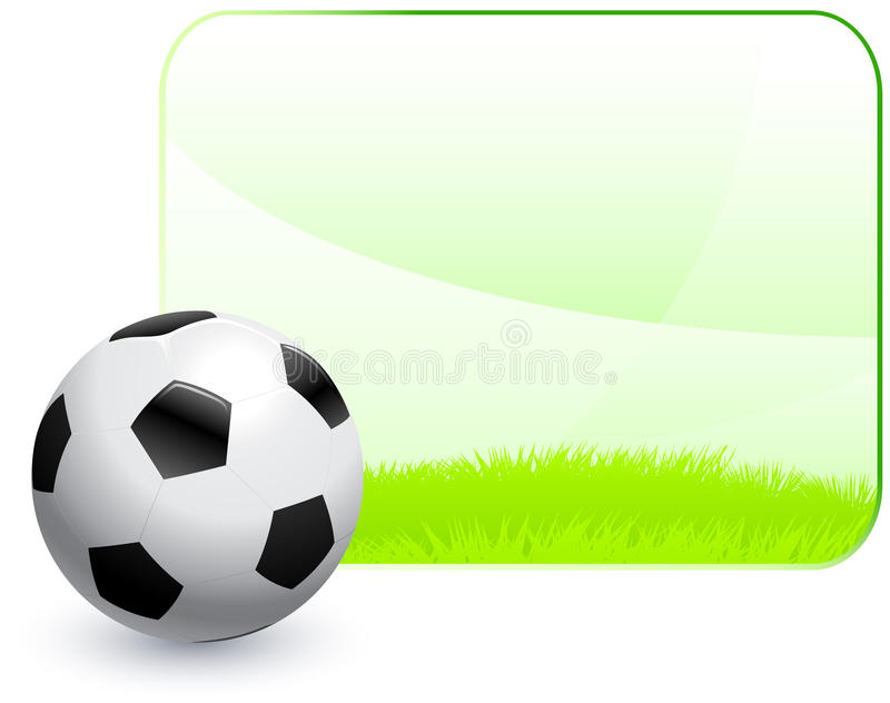 Soccer Ball with Blank Nature Frame Background stock illustration