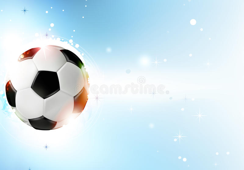 Soccer ball on blue background. Shining soccer ball on abstract blue background with lights and sparks. Abstract soccer background vector illustration