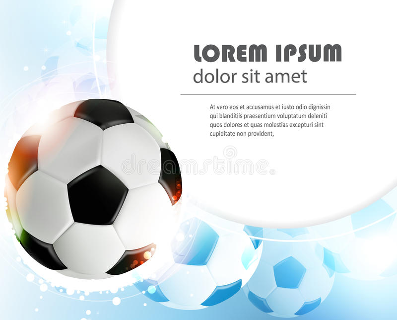 Soccer ball on blue background. Shining soccer ball on abstract blue background with lights and sparks. Abstract soccer background stock illustration