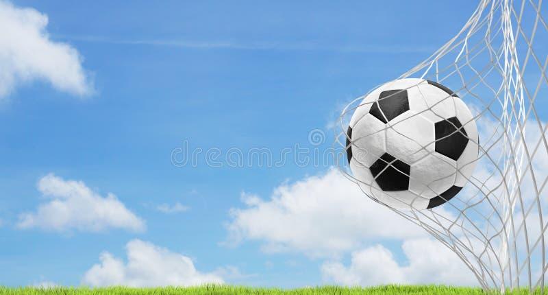 Soccer ball blue sky green lawn 3d rendering soccer goal stock illustration