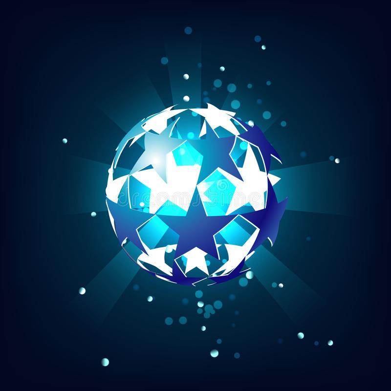 Soccer ball blue star, shining from within, with the glow on a dark blue background. stock illustration