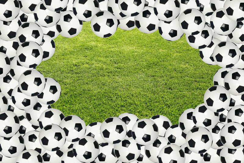 Download Soccer Ball Border Over Green Grass Stock Image - Image: 15792583