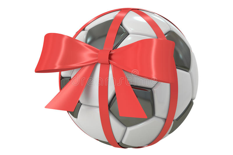Soccer ball with bow and ribbon, gift concept. 3D rendering stock illustration