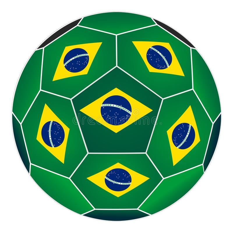 Soccer ball with Brazilian flag. Isolated on white background royalty free illustration