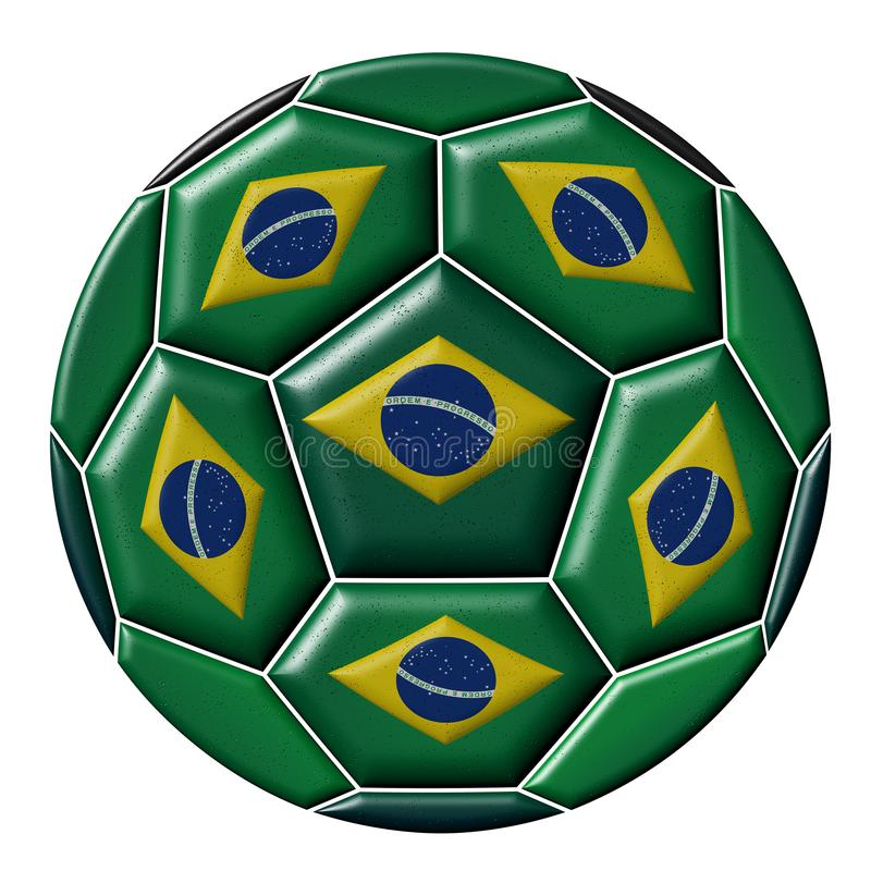Soccer ball with Brazilian flag. Isolated on white background vector illustration