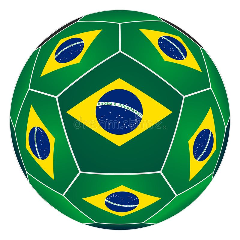 Soccer ball with Brazilian flag. On white background stock illustration