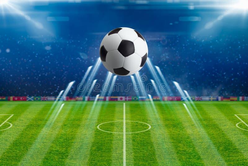 Soccer ball, bright spotlights, illuminates green soccer stadium. Abstract sports background - flying soccer ball, bright spotlights, illuminates green soccer stock illustration
