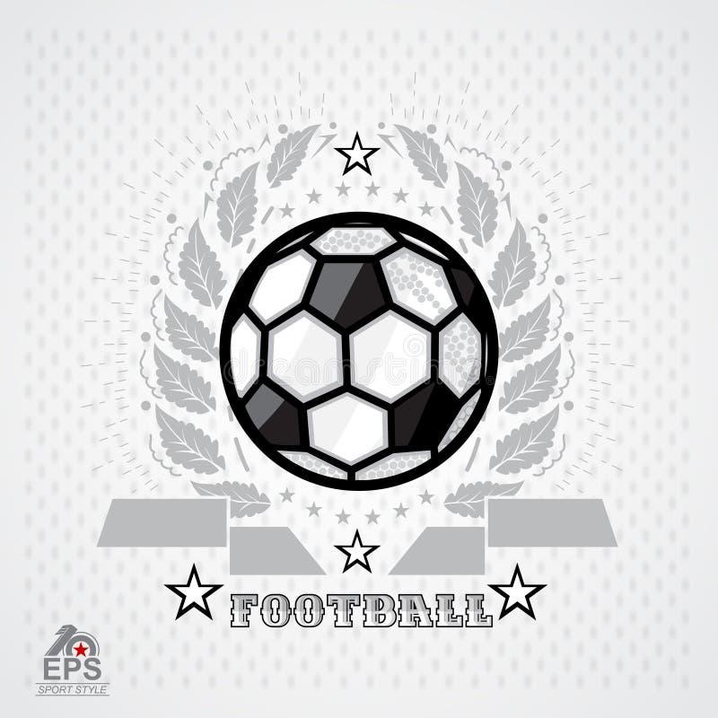 Soccer ball in center of silver wreath on light background. Sport logo for any football. Team stock illustration
