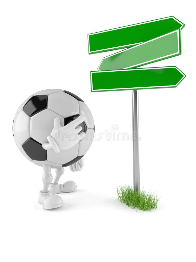 Soccer ball character with blank signpost. Isolated on white background. 3d illustration royalty free illustration