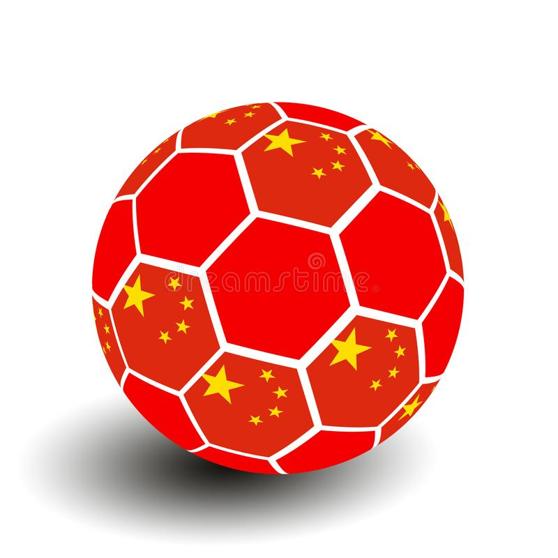 Soccer ball with Chinese flag royalty free stock photos