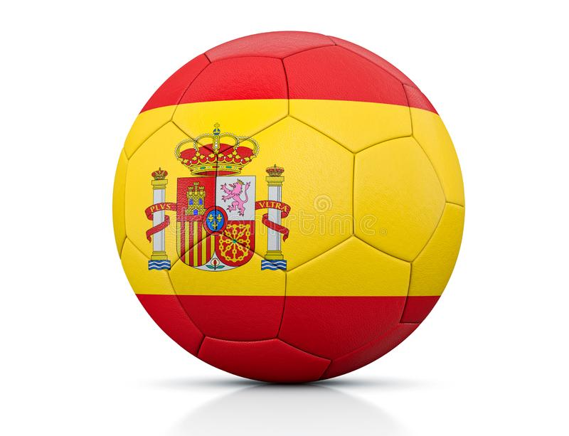 Soccer Ball, Classic soccer ball painted with the colors of the flag of Spain and apparent leather texture in studio, 3D illustrat vector illustration