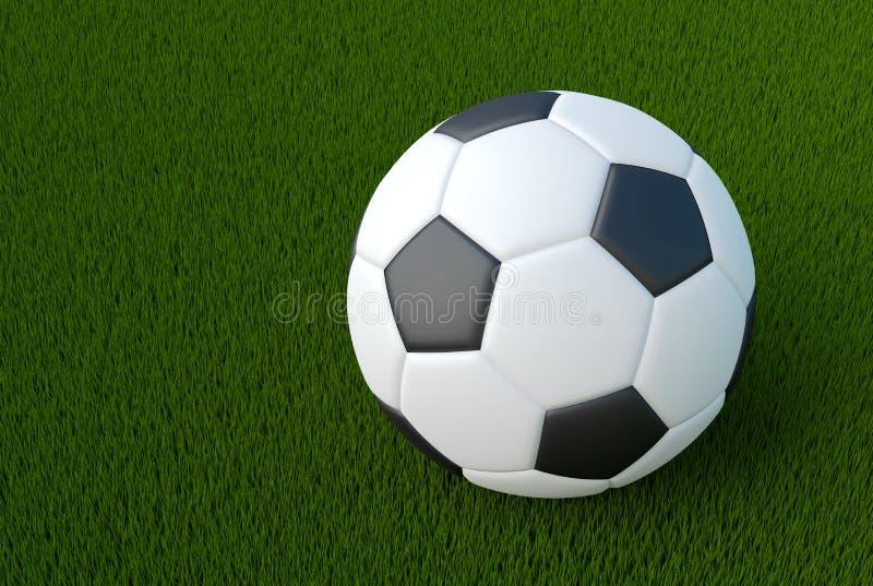 Soccer ball close up 3d render illustration of sport object royalty free illustration