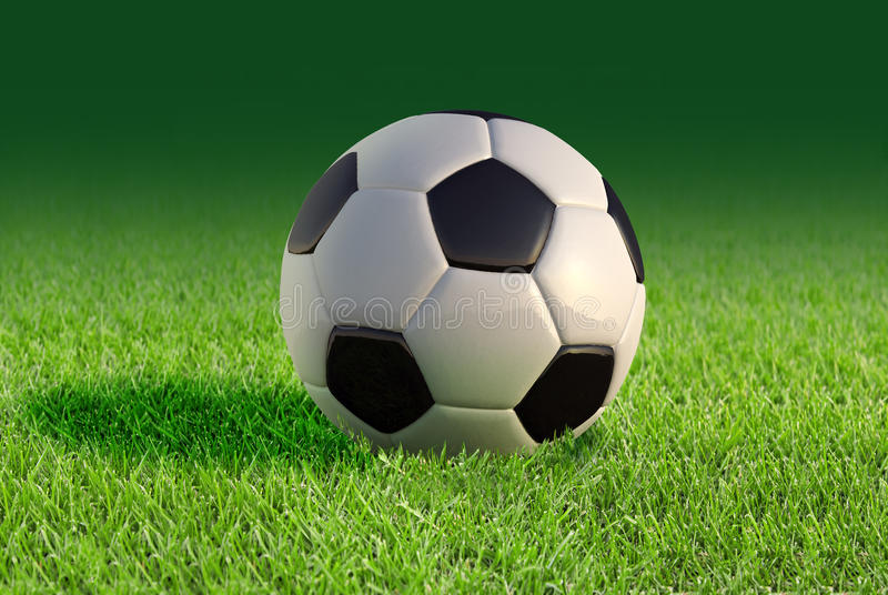 Soccer ball close up on grass lawn. vector illustration