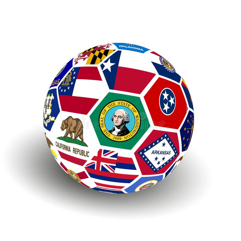 Soccer Ball with Collage American states flag royalty free stock image