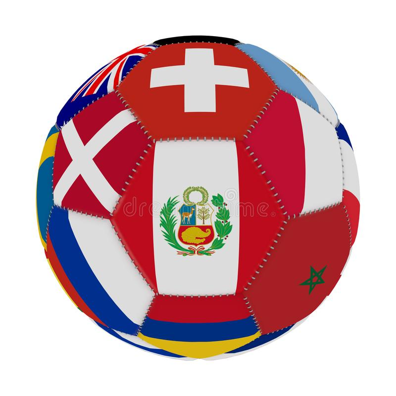 Soccer ball with the color of the flags of the countries participating in the world on football, in the middle Peru, 3D rendering. royalty free illustration